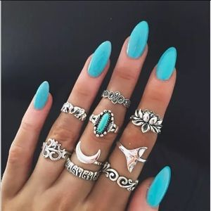 NEW! 9 Piece Turquoise Midi Knuckle Rings Set